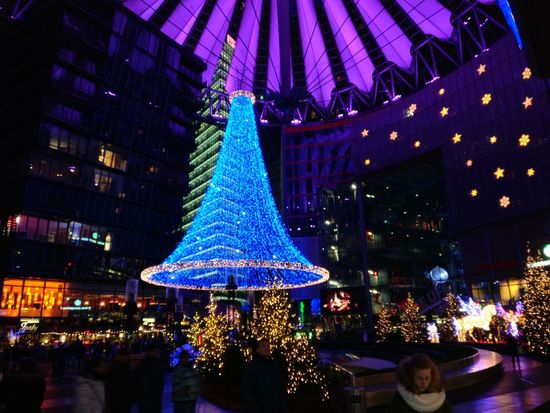 Stars Skyscrapers Modern Architecture Berlin Night Illuminated Christmas Lights Christmas Christmas Tree Celebration Christmas Decoration Holiday - Event Blue Architecture Outdoors