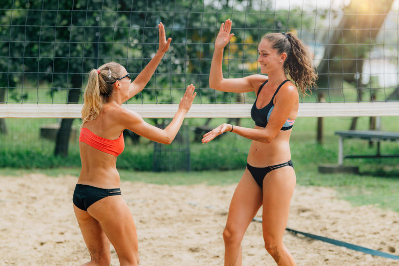 Beach volleyball players won game