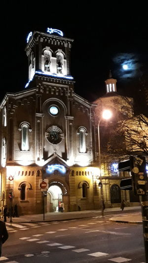 pamplona Illuminated Clock Place Of Worship Street Light Architecture Building Exterior Sky Built Structure Catholicism