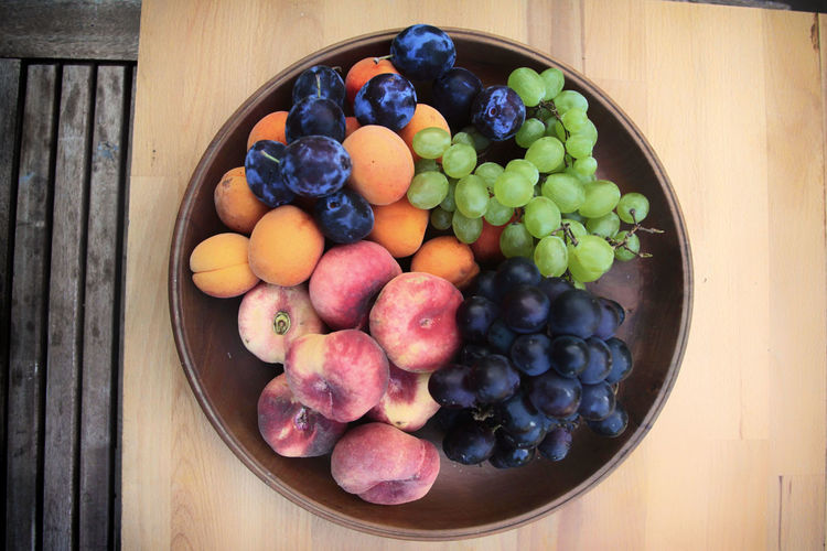 Fruits in bowl on table