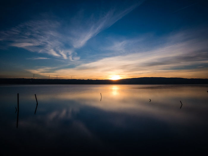 starnbergian mirror Beauty In Nature Blue Color Blue Sky Cloud - Sky Darkness And Light Dawn Lake Landscape Long Exposure Nature No People Outdoors Reflection Scenic View Scenics Sky Sunrise Tranquility Water Blue Hour Landscape_Collection Landscapes