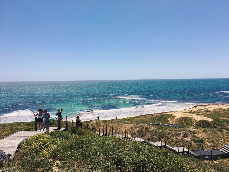 Sea Horizon Over Water Water Nature Clear Sky Scenics Standing Beach Beauty In Nature Real People Copy Space Outdoors Blue Day Leisure Activity Sky Lifestyles Vacations Fishing Pole Wave Penguin Island Perth Australia Australian Landscape