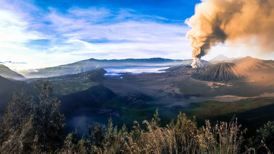 Majestic View Of Smoke Emitting From Mt Bromo