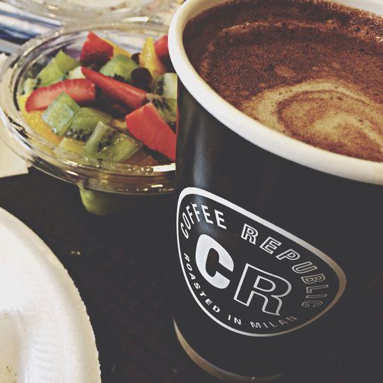 EyeEm Sandwich Chocolate Breakfast Mozzarella sandwich + hot chocolate + fruit salad ?