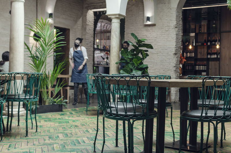Man standing by potted plants on table