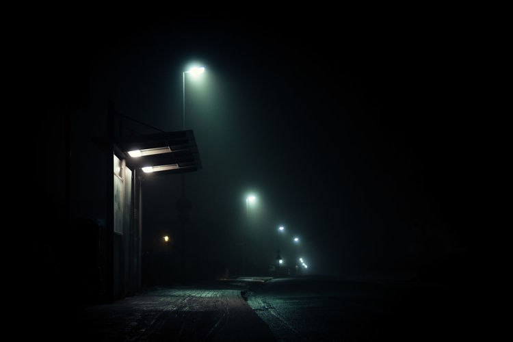 Bus stop Bus Stop Dark Fog Illuminated Lighting Equipment Mood Moody Night No People Outdoors Street Street Light Tranquil Scene Tranquility Fresh on Market 2017 The City Light Welcome To Black