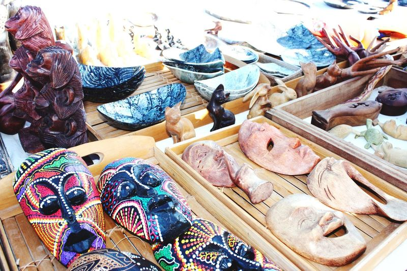 Souvenir Mask Kiosk Buying Presents Colors Colorful Buy Artisian Handmade Present