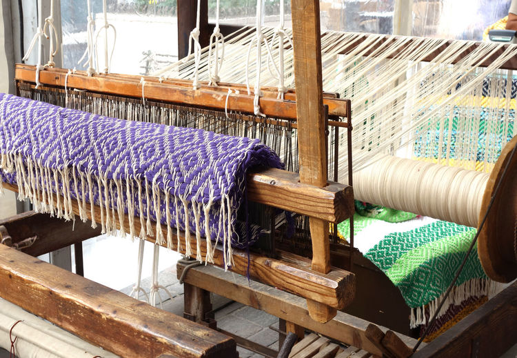 Old traditional wooden weaving loom