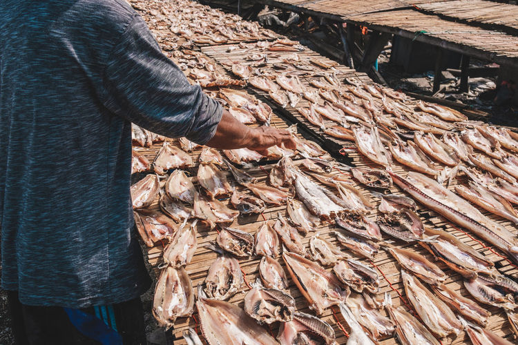 Man standing in fish for sale at market