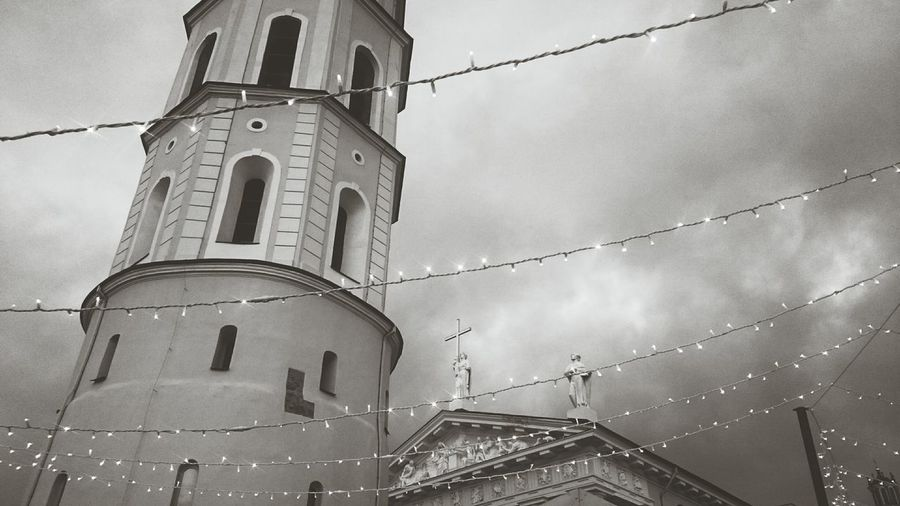 Sky Architecture No People Illuminated Christmas Tree Christmas Lights Christmas Decorations Winter Wonderland Lithuania Lietuva Vilnius Vilnius Old Town Vilnius Cathedral Religion Low Angle View Place Of Worship Built Structure Spirituality Building Exterior Outdoors Day Black And White Friday