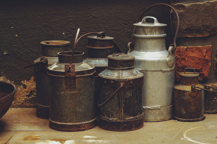 milk cans India Milk Cans From Front Outdoor EyeEmNewHere Copper  Tin Bottle Close-up Rusty Can Vintage Old Deterioration Weathered Retro