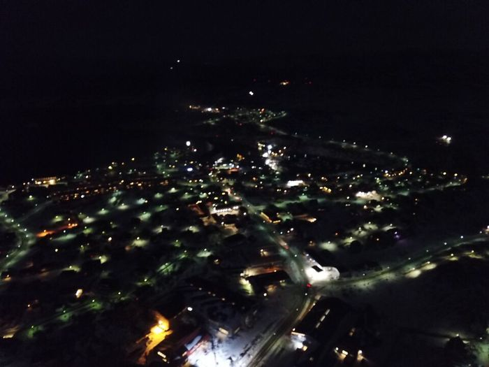 Trying out my drone at night. Drone  Dronephotography DJI Mavic Pro Drone Photography Droneshot The Real Greenland This Is Greenland Ilulissat My Town Greenland Mavic Pro Night Illuminated City High Angle View Outdoors Street Street Light Street Lights