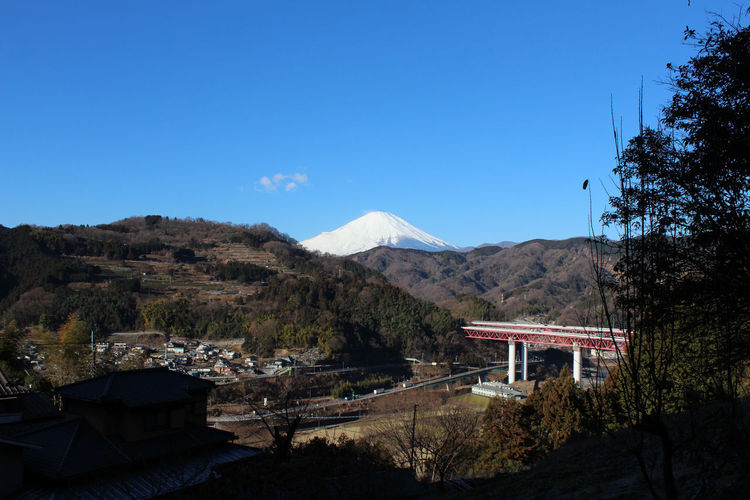 Distant view of mt fuji against clear sky