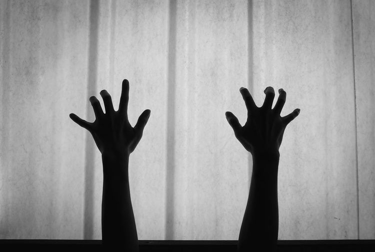 Silhouette of hands gesturing against wall at home