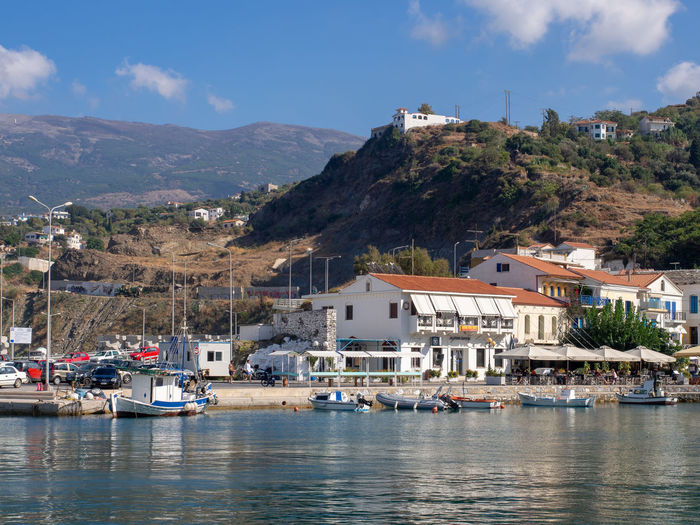 Ikaria Greece Greek Islands Island Architecture Water Outdoors TOWNSCAPE Moored Waterfront Harbor Mountain Evdilos Holiday Vacations Longevity Transportation Nautical Vessel Building Sea Town