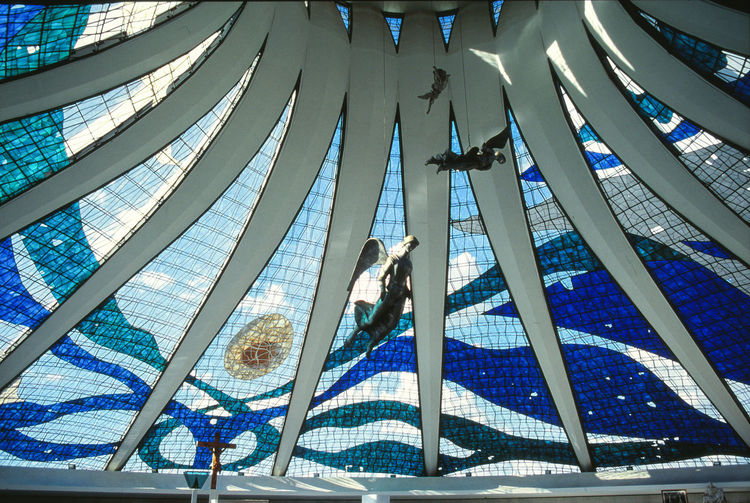 Angels Brasília - Brazil Cathedral Jesus Oscar Niemeyer Architecture Blue Built Structure Glass - Material Tinted Glass