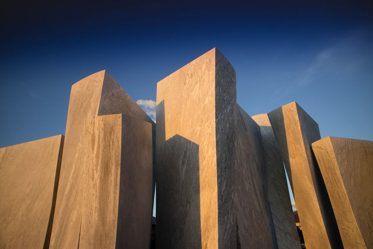Sky Low Angle View No People Blue Architecture Nature Clear Sky Built Structure Day Wood - Material Block Sunlight Outdoors Pattern Shape Design Geometric Shape Block Shape In A Row Travel