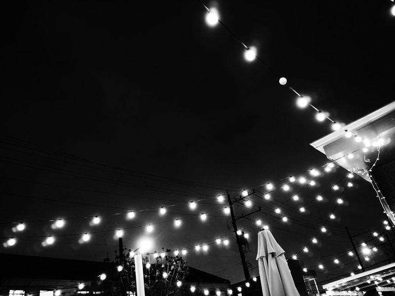 Black And White Nightphotography Night Illuminated Low Angle View Outdoors Night Lights Bw Bnw Bnw_collection Bw_collection Lights Restaurant Decor Outdoor Decor Friends Wine Summer Summer Nights Place Of Heart Black And White Friday