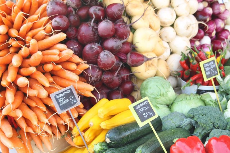 Vegetables Arranged In Market For Sale