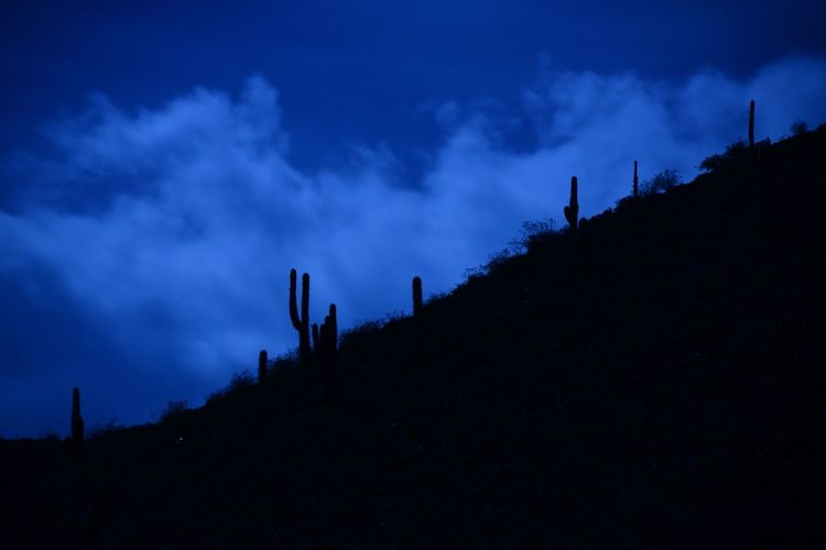 Full Moon Beauty In Nature Blue Cloud - Sky Landscape Low Angle View Midnight Mountain Nature Night No People Outdoors Scenics Silhouette Sky Tranquil Scene Tranquility