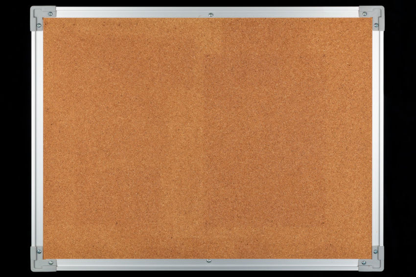Empty bulletin board, message board, notice board Bulletin Board Backgrounds Blank Board Brown Close-up Communication Copy Space Cork Board Cork Material Cut Out Document Man Made Man Made Object Message Message Board Metal No People Noticeboard Paper Retro Styled Single Object Studio Shot Textured