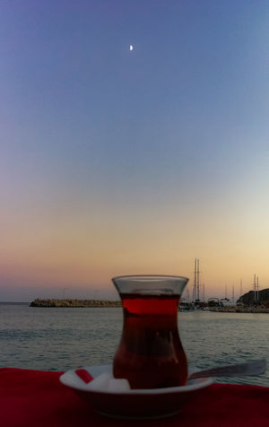 Water Clear Sky Sea Sunset Beach Moon Drink Red Reflection Sky