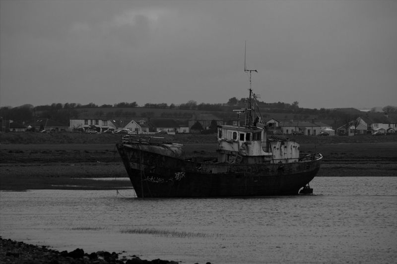 Black And White Photography Black And White Fishing Boat Nautical Vessel Sea Water Beach Sky Shipwreck Deterioration Run-down Damaged Abandoned Bad Condition Weathered Rusty Boat Ship