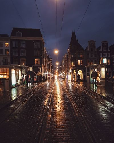 Night People City Outdoors Rain Amsterdam Illuminated Large Group Of People Winter Architecture Sky Adult Politics And Government Adults Only