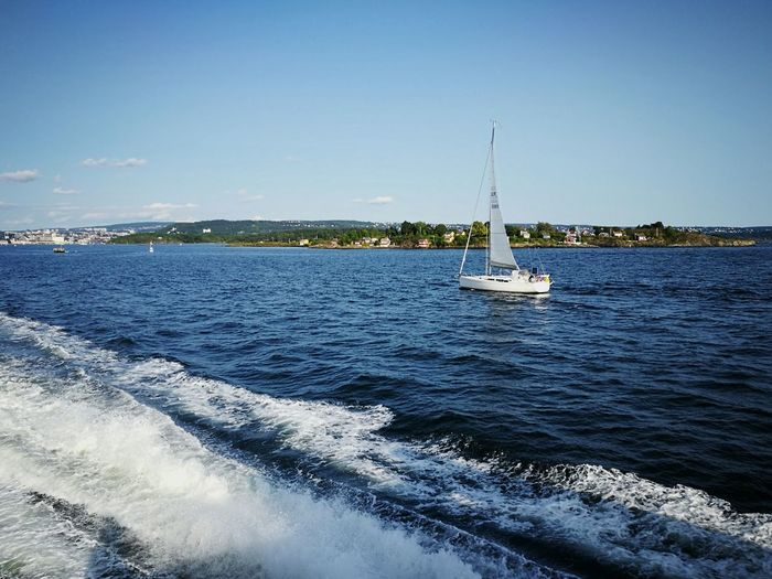 Sea Sailboat Nautical Vessel Outdoors Summer Sailing Sailing Ship Nature Oslo Fjord Cityscape Oslo, Norway No People Beauty In Nature Travel Destinations Scenics Sky Day Water Norway Transportation