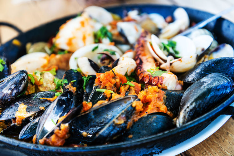 Close-up of seafood served in bowl