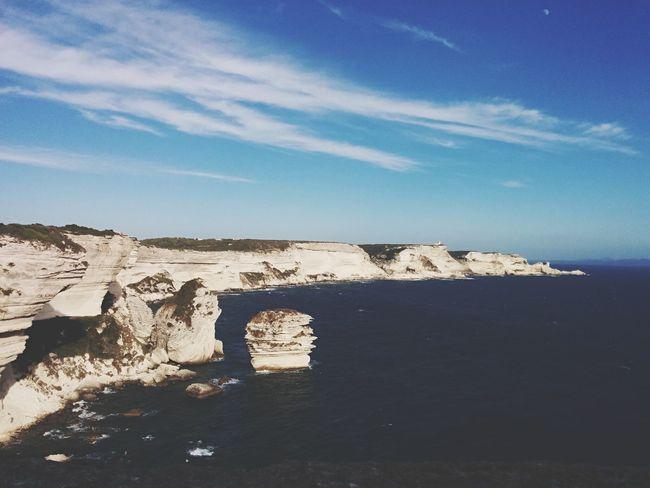 Amazing cliffs of Bonnifaccio hanging over Mediterranean Cliff Corsica Sea Mediterranean  EyeEm Nature Lover Landscape Blue Sky Deep Blue Nuances Earth Wild Nature Welcomeweekly Bonnifacio