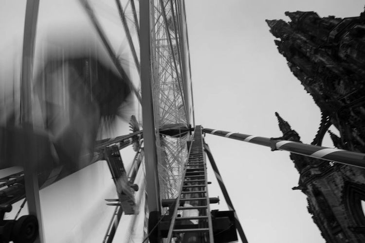 B&w Bigwheel Blackandwhite Christmastime Clear Sky Edinburgh Large Low Angle View Outdoors Scott Monument Streetphotography Tall