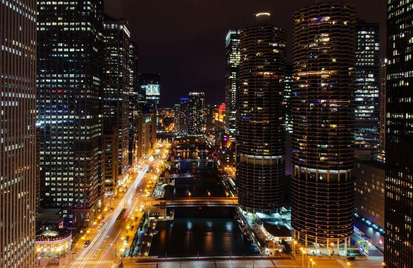 Chicago at Night Architecture Building Exterior Chicago City City Life Cityscape Illuminated Loop Night Skyscraper Traffic Travel Destinations Fresh On Market 2017