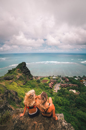 Oahu EyeEm Best Shots EyeEmNewHere Hawaii Stairways To Heaven Views Canonphotography Cloud - Sky Enjoying Life Hike Leisure Activity Lifestyles Model Outdoors People Real People Rear View Relaxation Scenics Scenics - Nature Sea Sky Tranquility