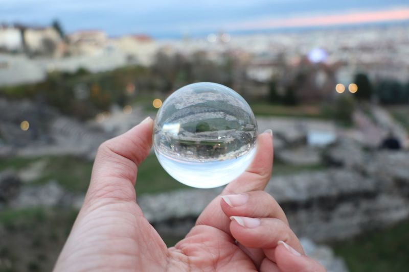 Human Hand Hand Holding Focus On Foreground Sphere Crystal Ball One Person Human Body Part Nature