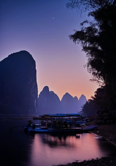 View of guilin at sunset