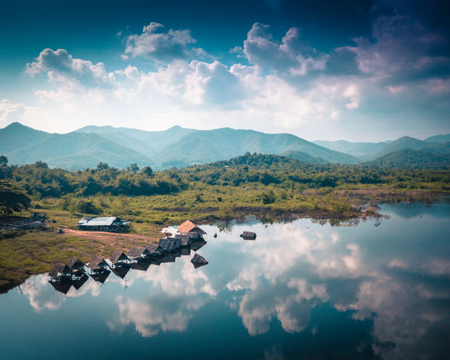 Lake View Restaurant in Northern Thailand Chiang Mai Chiang Mai Thailand Bamboo Hut Beauty In Nature Cloud - Sky Day Lake Lake View Landscape_photography Mountain Mountain Range Nature No People Northern Thailand Outdoors Reflection Scenics Sky Tranquil Scene Tranquility Water