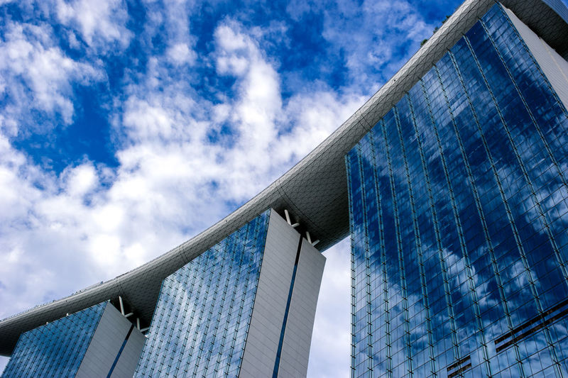 Low Angle View Of Marina Bay Sands