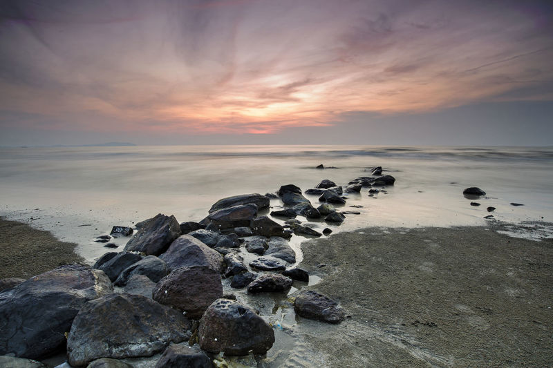 Sunrise Black Stone Malaysia Truly Asia Water Low Tide Sea Sunset Beach Sand Sunlight Sun Sky Horizon Over Water Seascape