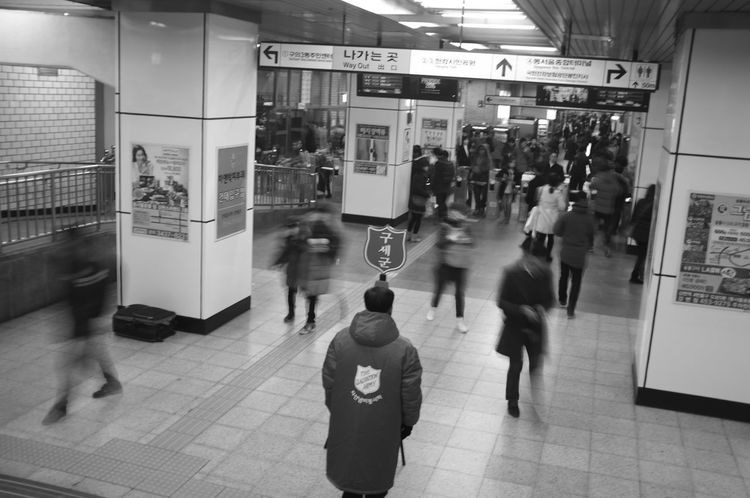 Blackandwhite City Life Crowded Indoors  Large Group Of People Monochrome Railroad Station Salvation Army Subway Subway People Walking