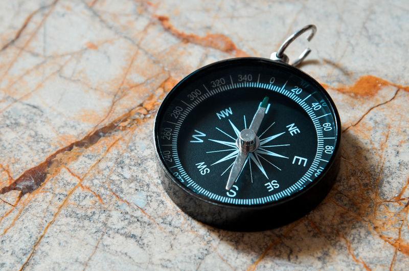 High angle view of navigational compass on table