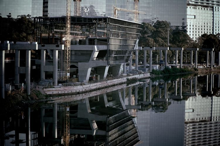 Reflection of building in river