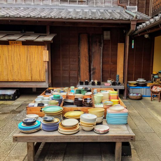 Wood - Material Table Building Exterior Architecture No People Outdoors Day Life Lifestyles Color Colorful Dishes Lifestyle Old House Japanese House Shop Traditional Culture Traditional Bowls Bowl Dish