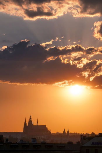 Extraordinary prague sunset over St. Vitus Cathedral during summer, Czech republic. Architecture Building City Culture Czech Europe Famous Golden Gothic Heritage Historical HUNDRED Church Lady Lamp Landmark Medieval Misty Morning Mystery Old Prague Republic Romantic Roof Scene Sculpture Silhouette Sky Spires Statue Stone Street Sun Tourism Tower Town Travel Unesco Urban Vacation Vintage Sunset Cloud Color St. Vitus Cathedral History Light