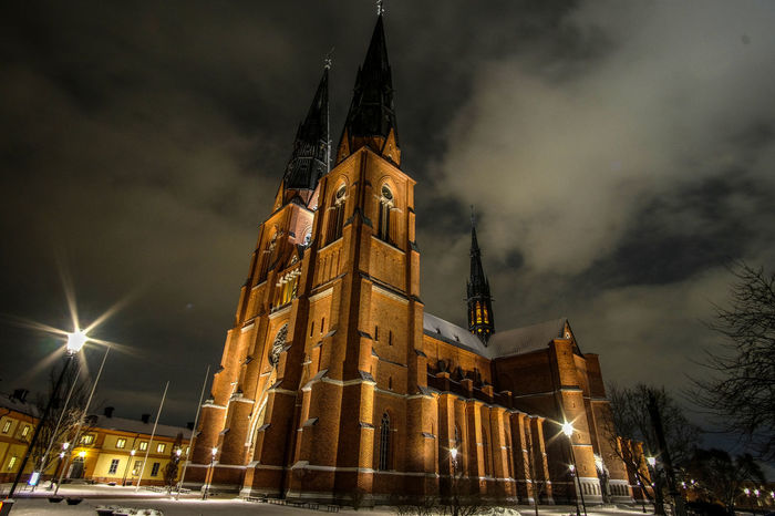 Architecture Cathedral Light Uppsala Domkyrka Uppsala, Sweden Architecture Built Structure Cloud - Sky Illuminated Night Religion Sky Spirituality