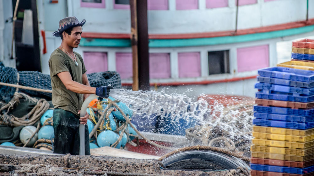 Fisherman cleaning the jetty Basket Boats⛵️ Cleaning Day Fisherman Fishery  Fishing Boat Folkways Hat Life Man Sea Splash Splashing Standing Water Wet Working Working Hard Learn & Shoot: Working To A Brief
