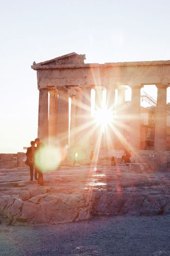 Old time classic Sunset Sightseeing Parthenon Acropolis Greece Athens Traveling Travel Photography Travel EyeEm Selects EyeEm Best Shots The Week Of Eyeem The Week on EyeEm Sky Architecture Built Structure Sunlight Clear Sky Nature Building Exterior History Lens Flare Sunbeam The Past Sun Architectural Column Ancient Travel Destinations Sunset Outdoors