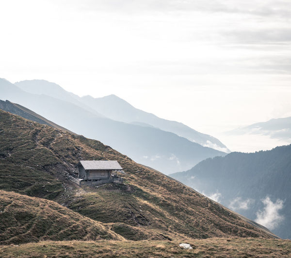 Lonely mountain hut in the Hohe Tauern NP. Austria Alps Austrian Alps Hohe Tauern Hohe Tauern National Park Nature Day Mountain Range Beauty In Nature Mountain Hut Cloudscape Np People