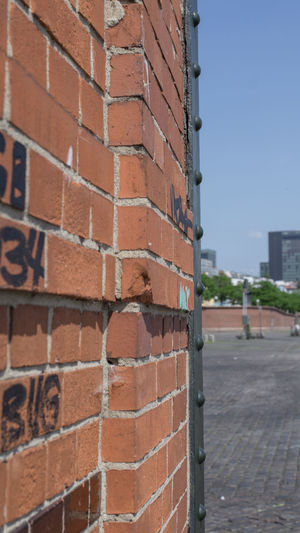 Architecture Behind A Wall Brick Brick Wall Building Building Exterior Built Structure City Close-up Day Foreground Focus No People Outdoors Red Streetphotography Wall