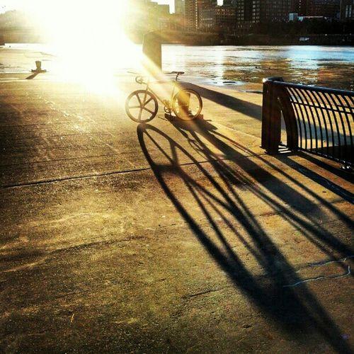 Waking up; breaking up with the night. Sunrise Bike Fixed Gear Fixie Bikeporn Mercier Aerospoke Dropbars Sunporn Kilo Tt